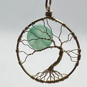 Jewelry - Tree of Life Jadeite Sterling Silver Necklace 18″